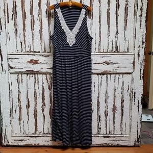 Navy and white stripe maxi dress